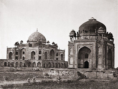 Humayun's Tomb with the barber's tomb in foreground, 1858