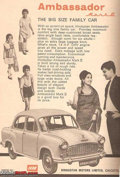 Ambassador print ad depicting it to be a big family car