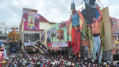 Crowd outside cinema theaters in India - Baahubali pri