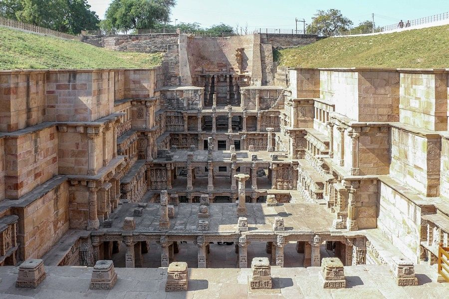 Top view of the Rani Ki vav heritage site in Gujarat