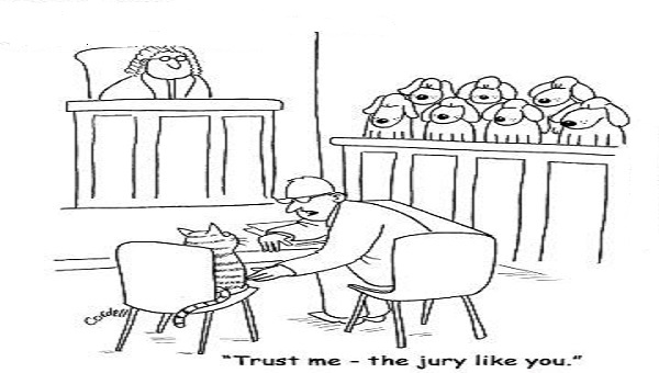 Cartoon on biased jury- Mythical India