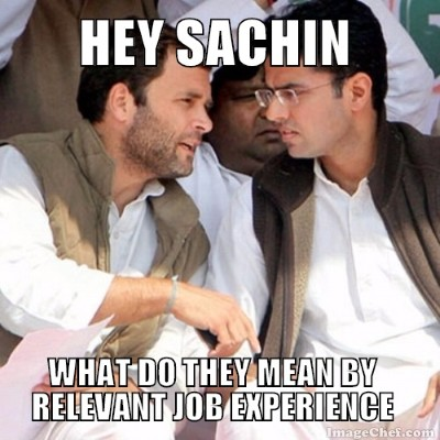 Rahul gandhi asking Sachin Pilot about job experience