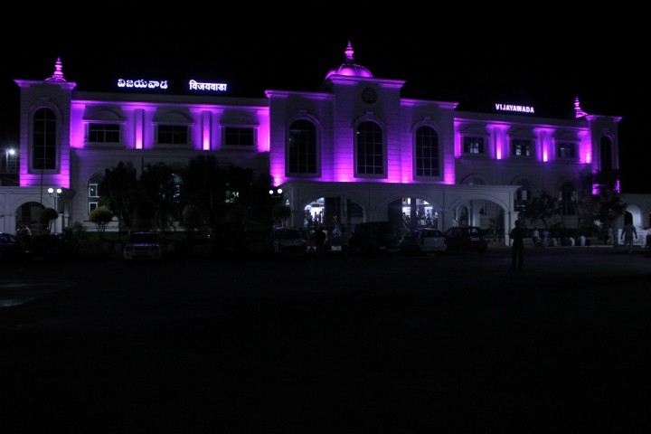 Vijaywada railway station with LED lights to enhance facade
