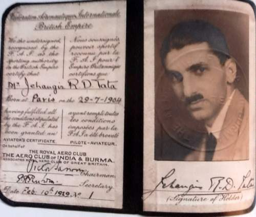 JRD Tata the first indian to have a pilot license - Mythical India