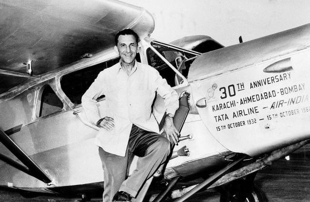 JRD Tata poses with one of the planes of Tata Airlines - Mythical India