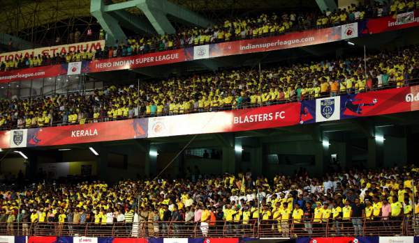 Crowd cheer during an ISL match