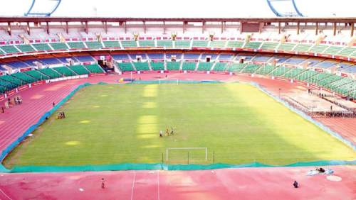 A cricket stadium being prepared for hosting of ISL matches