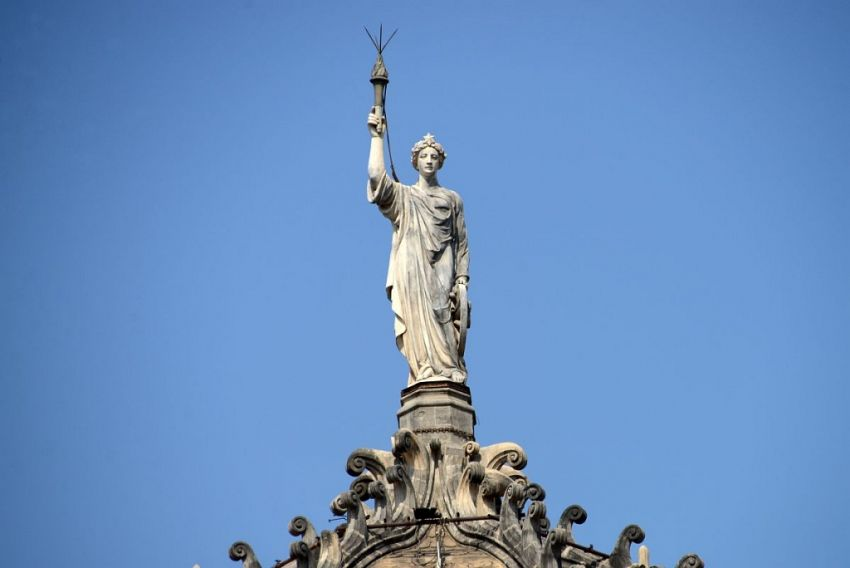 Statue of Progress atop the central dome at CST - Mythical India