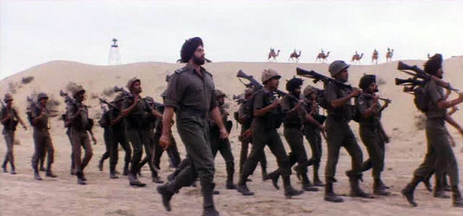 Border movie scene depicting post height in background - Mythical India