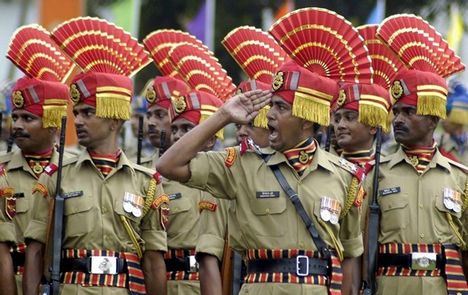 BSF soldiers at a parade - Mythical India