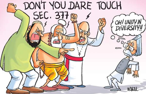 Cartoon depicting all religious bodies colluding to ban homosexuality thru section 377 - Mythical India