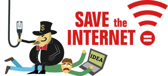 Cartoon displaying message of saving the freedom of Internet - Mythical India