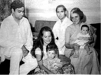 sonia gandhi with Indira, Rajiv, sanjay, rahul and priyanka_opt