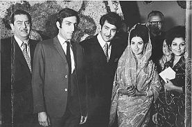 Sharmila Tagore with tiger pataudi, Raj Kapoor and Randhir Kapoor