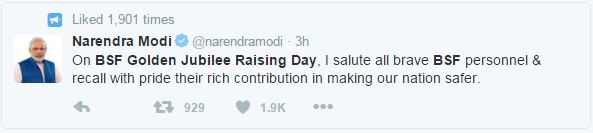 Narendra modi's tweet on 50th raising day of BSF- Mythical India