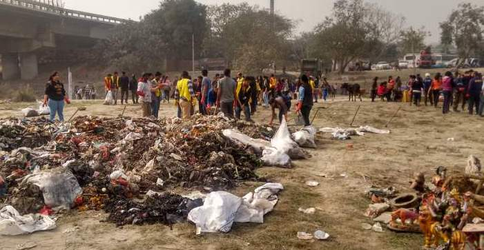 The waste taken out after cleaning Yamuna - Mythical India