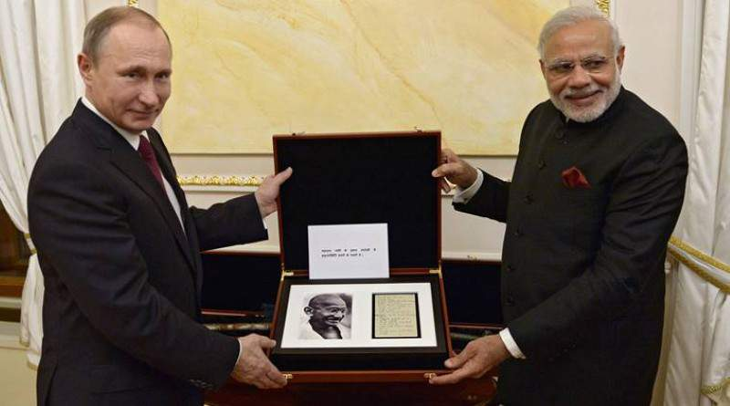 Vladimir Putin presenting Gandhiji's handwritten notes to PM Modi - Mythical India