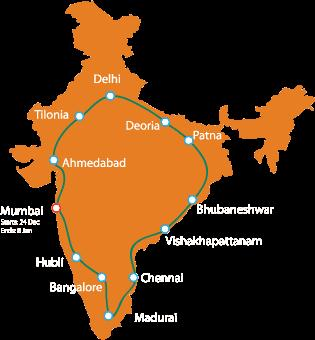 The overall route of Jagriti Yatra - Mythical India