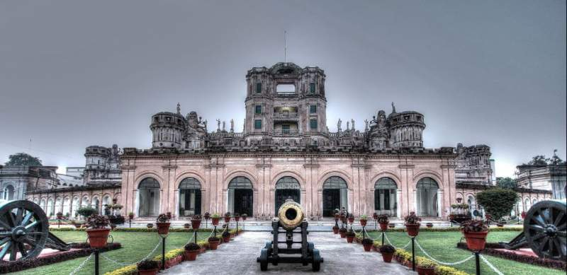 The front view of La Martiniere with Cornwallis Cannons - Mythical India