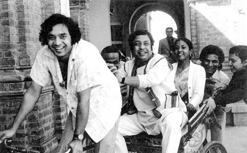 9 March- Birthday of Ustad Zakir Hussain, famous Indian Tabla player, seen here with Birju Maharaj. He has been awarded Padma Shri and the Padma Bhushan by Government of India. He has also received Sangeet Natak Akademi award.