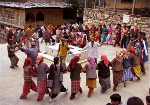 Buddhists performing chhanak cham in monastary in Himachal Pradesh - Mythical India