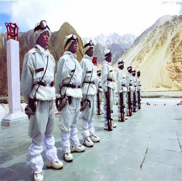 Indian troops with Arctic gear which is a necessity to survive in Siachen - Mythical India
