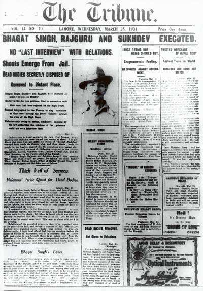 The Tribune front page with the news of Bhagat Singh's execution alongwith Sukhdev and Rajguru - Mythical India