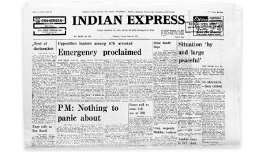 Indian Express reporting the declaration of Emergency by Indira Gandhi, Ramnath Goenka - Mythical India