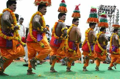 Karakattam,Tamil folk dance where the pot on dancers head has uncooked rice and sprouts, TamilNadu - Mythical India