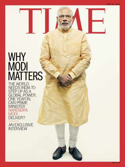 Narendra modi on the covers of the coveted Time magazine - Mythical India