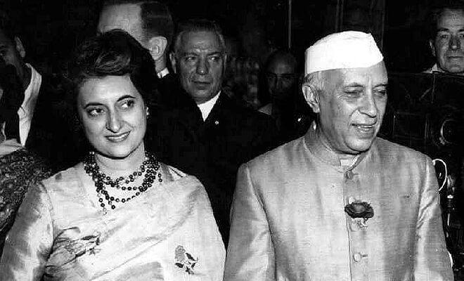 Indira with her father Jawahar Lal Nehru