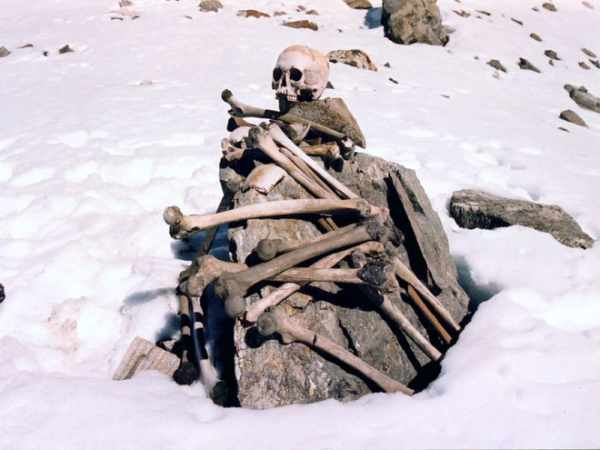 The skeletons found near the Roopkund Lake - Mythical India