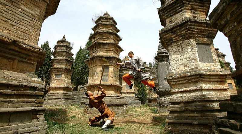 Monks practicing Kung-fu - Mythical India