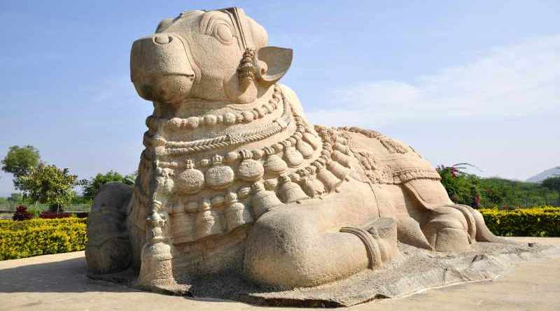 The monolithic rock sculpture of Nandi bull at Lepakshi temple - Mythical India