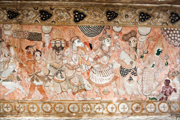 The murals at Lepakshi are bright and depict the stories of Epics - Mythical India