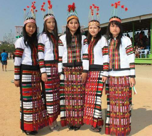 The costume wore by the dancers of cheraw, mizoram - Mythical India
