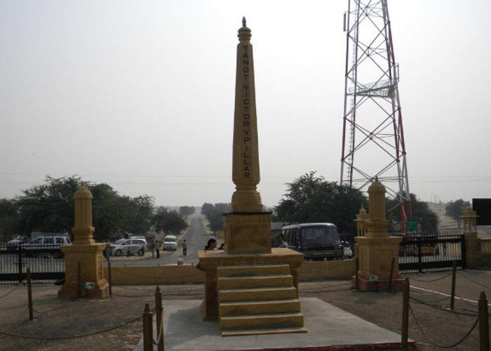 Victory pillar in front of Tanot mata mandir - Mythical India