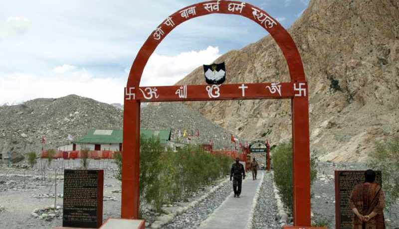 Entrance to the shrine built by Indian army in remembrance of OP Baba - Mythical India
