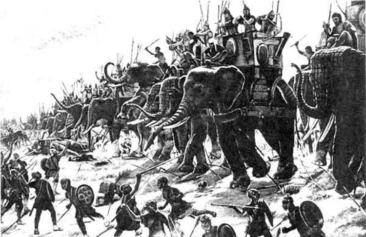 Battle-of-Hydapes-Porus-Elephants - Mythical India