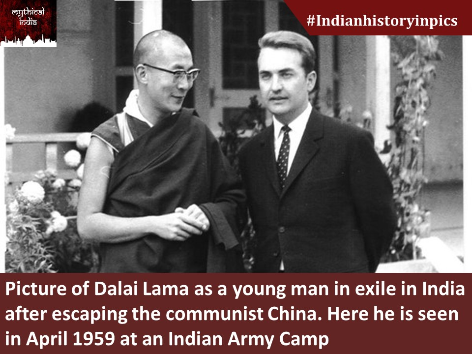 Picture of Dalai Lama as a young man in exile in India after escaping the communist China. Here he is seen in April 1959 at an Indian Army Camp