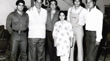 21 July- Birth anniversary of famous lyricist Anand Bakshi seen here with Ashim Samanta, Anand Bakshi, RD Burman, Mithun Chakraborthy and Shakti Samanta