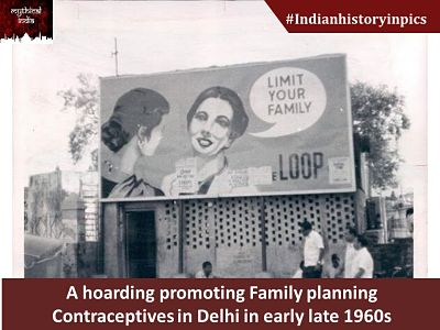 A hoarding promoting Family planning Contraceptives in Delhi in early late 1960s