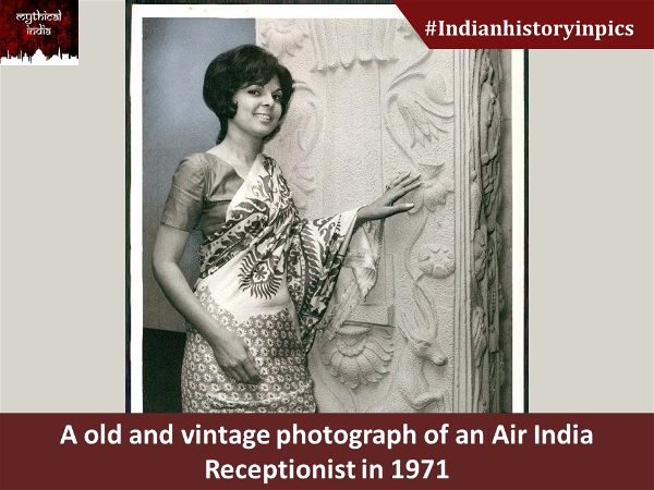 A old and vintage photograph of an Air India Receptionist in 1971